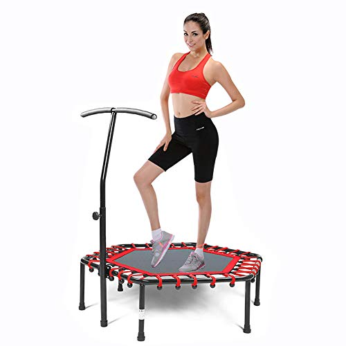 Safly Fun Fitness Trampoline Mini Trampoline for Adults/Kids with Adjustable Handle Bar