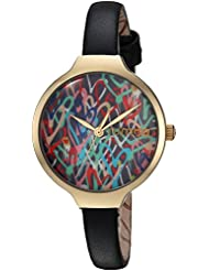 RumbaTime Womens Orchard Love Quartz Metal and Leather Casual Watch, Color:Black (Model: 27860)