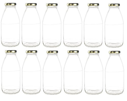 Gold Juice Glass - Nakpunar 12 pcs 10 oz Glass Bottle with Gold Lids