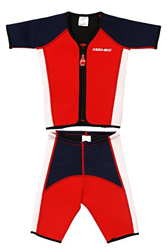 Cheekaaboo Little Boys' Thermal Swimsuit Kiddy Twinwet Suit 2-4 Years Red/ Navy Blue