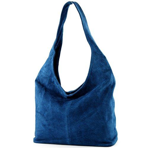 modamoda ital Wildleder Damentasche Jeansblau Bolso de Bolso cuero de hombro de de Bolso hombro T150 rrUwqxa
