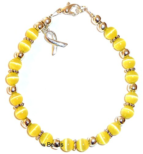 Hidden Hollow Beads Cancer Awareness Bracelet, For Showing Support or Fundraising Campaign, Adult Size with Extension, 6mm Cat's Eye Beads. Comes Packaged. (Bladder Cancer \ Sarcoma - Yellow)