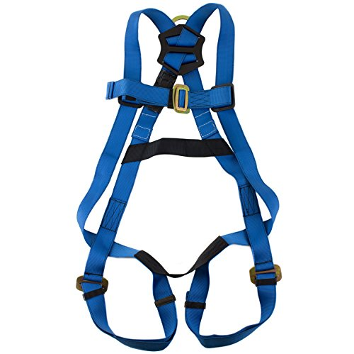 spidergard-spkit01-single-d-ring-full-body-fall-protection-safety-harness-bundle-with-6ft-shock-absorber-snap-hook-lanyard-blue-l-xl