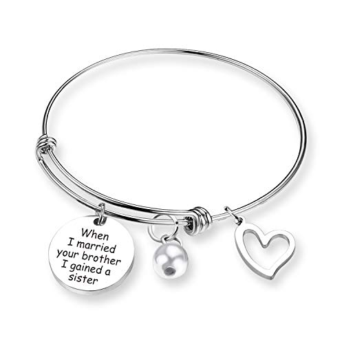 ZNTINA Sister in Law Gift When I Married Your Brother I Gained A Sister in Law Bracelet Sister of The Groom Gift Wedding Jewelry Bridesmaid Gift (BR- When I Married) (Gifts For Your Brother And Sister In Law)