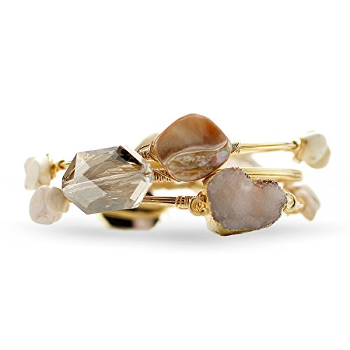 Inspired Silver Ivory Natural Stone Wire Wrapped Triple Bangle Bracelet Set Gold Tone Finish -