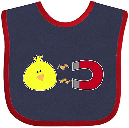 Inktastic Chick Magnet Baby Bib Navy and Red