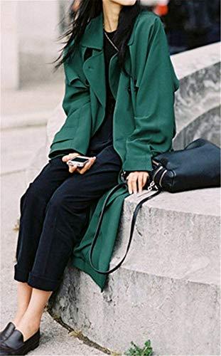 Gabardina Con Largos Bolsillos Abrigo De Abrigos Mujer Solapa Sólido Cinturón Joven Laterales Manga Windbreaker Moda Retro Grün Color Larga Invierno vqdwBxwR