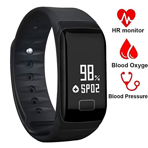 BONNIEWAN Fitness Tracker,Waterproof Activity Tracker with Heart Rate Blood Pressure Blood Oxygen Monitor,Smart Wristband with Pedometer Watch Calorie Counter Sleep Monitor Bluetooth Bracelet (Black)