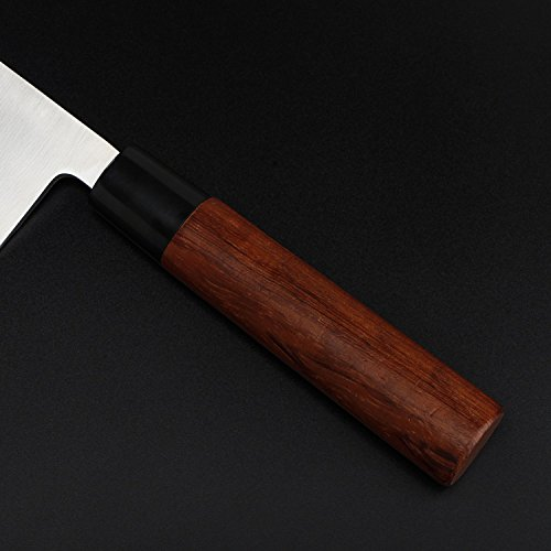 MSY BIGSUNNY 7 inch Deba knife Kitchen Cooking Chef Sushi Knife High Carbon Stainless Steel Blade with Rose wood Handle by MSY BIGSUNNY (Image #4)