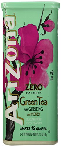 Arizona Sugar Free Green Tea with Ginseng Iced Tea Mix, Tubs in Canister- 1.7 oz, 12 (Green Canister)