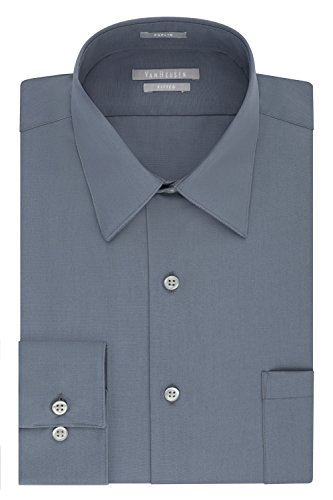 : Van Heusen Men's Poplin Fitted Solid Point Collar Dress Shirt