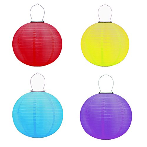 Multi-color Solar Chinese Lanterns Lights Hanging 4 Pack 12'' Water Resistant Outdoor Nylon LED Lanterns