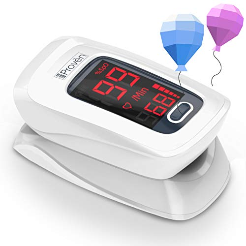 [New Version] iProvèn Pulse Oximeter Fingertip - Oxygen Saturation Monitor - with Heart Rate Detection - incl. Batteries, Case and Lanyard - iProvèn OXI-27 White