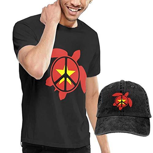 Adult Vietnam Flag Sea Turtle Peace Sign Short Sleeve Tee and Hat Costume Set Black
