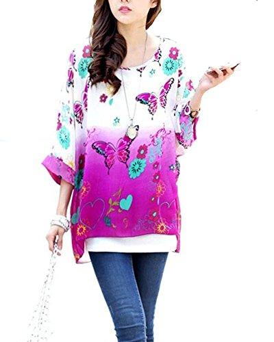 Blusas y Camisas Mujer Estampadas Flores Camiseta Bohemia Tops con Mangas Largas de Murciélago Caftan Playa Gasa Tallas Grandes �?Landove patrón 06