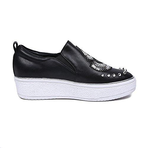 MINIVOG Womens Flat Height Increasing Loafer Shoes Black SNkGEP