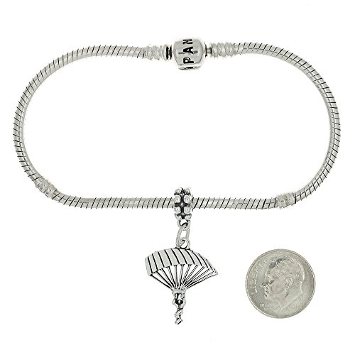 Sterling Silver Oxidized Parachute Para Sailer European Dangle Bead Charm