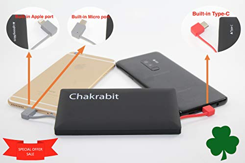(Chakrabit Super Slim 10,000 mAh Power Bank with Built-in Type-C USB C, Micro USB Cable and a Fast Charging Port Compatible with Smartphone, Tablet, Smartwatch)