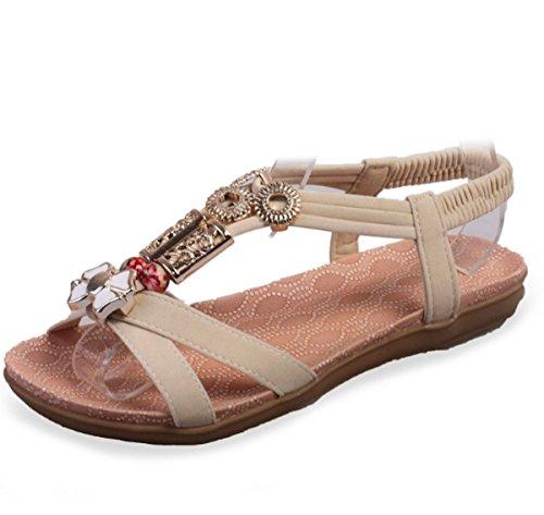 Moon Market Women Bohemian Retro Beaded Gladiator Flat Sandal Beach Shoes (US8, Nude)