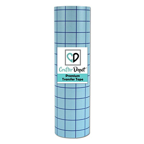 """Vinyl Transfer Paper Grid Tape – 12"""" x 10 Feet Clear with Blue Alignment Squares 
