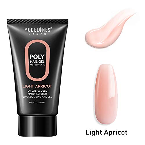Modelones Poly Nail Gel 60ML 2.02oz Nude Natural Pink Nail Extension Gel Builder Gel Nail Enhancement Thickening Tool (Builder Gel Nail)