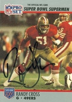 Randy Cross (Randy Cross autographed football card (San Francisco 49ers) 1990 Pro Set #63 - NFL Autographed Football Cards)