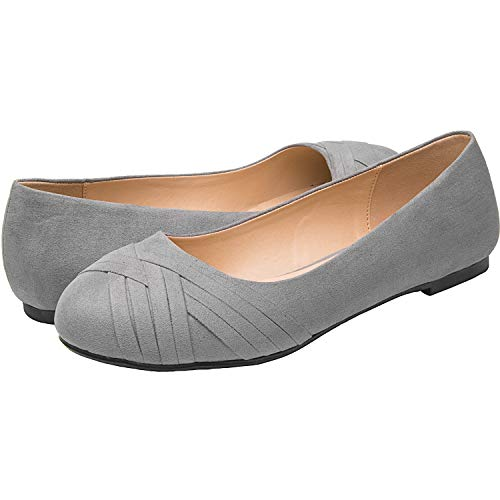 - Wide Width Women's Classic Ballerina Flat Shoes, Slip On Basic Walking Shoes w/Round Toe and Comfortable Memory Foam Insole(Gray 180301,9WW)