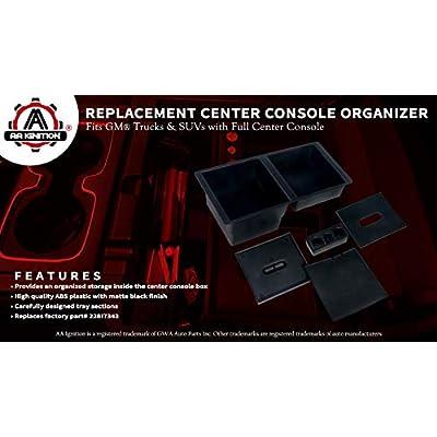 Center Console Organizer Tray - Replaces GM part 22817343 - Fits 2014-2020 Chevy Silverado 1500, 2500 HD, 3500 HD, Suburban, 3500 HD, Tahoe, GMC Sierra 1500, Limited, 2500, Yukon, XL - Full Tray: Automotive