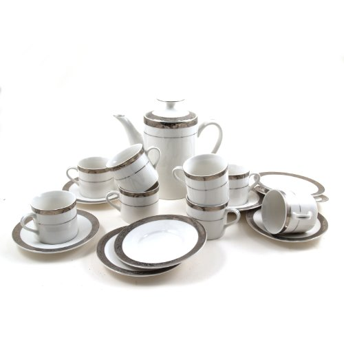 Lynns Oralia Platinum 18-Piece Espresso set, Service for 8