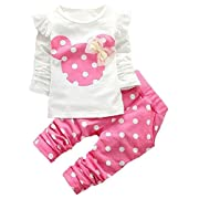 Favorland Baby Girls' Toddler Outfits Kids Clothes Shirt Top Pants Set(60,Pink)