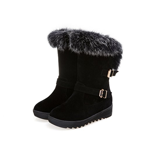 Mostrin Women's Round Toe Platform Short Boots Winter Faux Fur Buckle Waterproof Warm Snow Boots Black