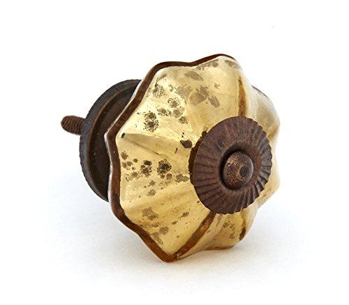 Antique Gold Mercury Glass Distressed Dresser Knob, Cabinet ()