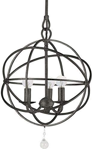 Crystorama 9225-EB Traditional Three Light Mini Chandeliers from Solaris collection in Bronze Darkfinish,