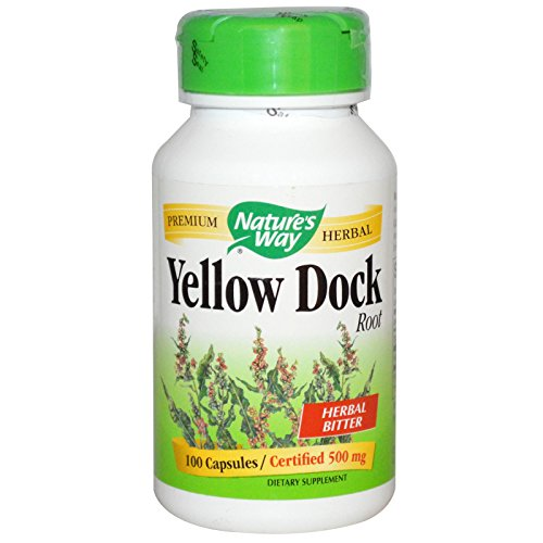 Natures Way Yellow Dock Root, 100 Capsules, 500mg (Pack of 2)