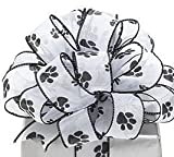 Paw Prints White Sheer Wired Ribbon #9 1.5'' X 20 Yds