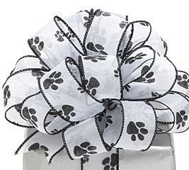 Paw Prints White Sheer Wired Ribbon #9 1.5'' X 20 Yds by Burton & Burton