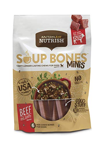 Rachael Ray Nutrish Soup Bones Minis Dog Treats, Real Beef & Barley Flavor, 6 Bones, 4.2 Oz. Bag (Pack Of 8)