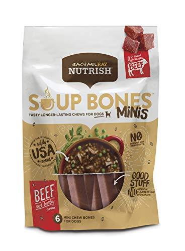 Rachael Ray Nutrish Soup Bones Minis Longer Lasting Dog Treats, Beef & Barley, 6 Bones (Pack of 8)