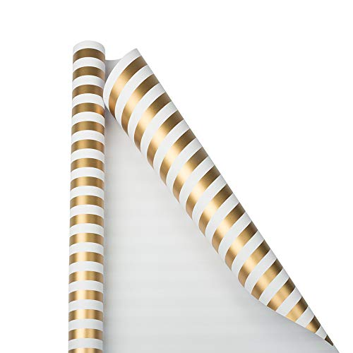 JAM PAPER Gift Wrap – Striped Wrapping Paper – 25 Sq Ft – Gold & White Stripes – Roll Sold Individually