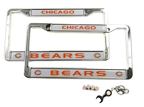 MT-Sports Store Football Team Car Licenses Plate Stainless Steel Frames & 4 Pcs Tire Valve Stem Caps (Chicago Bears)
