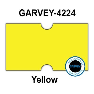 (240,000 Genuine GARVEY 2112 Yellow General Purpose Labels: Full case - no Security cuts [Compatible with Motex MX-5500, Towa 1 Line, Jolly, Hallo, Freedom and Impressa 2112 Punch Hole (PH) Labelers])