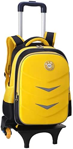 Ly-lgb Childrens Trolley Bag Primary School Backpack Men and Women Burden Reduction Shoulder Strap Reflective Strip 1-3-6 Grade Color : Yellow, Edition : Six Rounds
