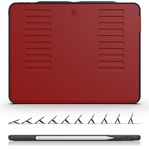 ZUGU CASE The Muse Case - 2018 iPad Pro 12.9 inch - Very Protective But Thin + Convenient Magnetic Stand + Sleep/Wake Cover (Red 2018 iPad Pro 12.9 Gen 3) (Best Cover For Ipad Pro 12.9)