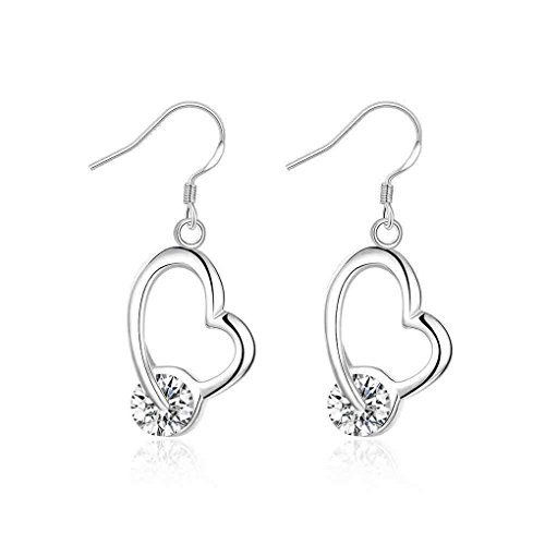 fonk: Inlaid Heart drop Earings silver plated earrings for women silver plated earrings SMTE150