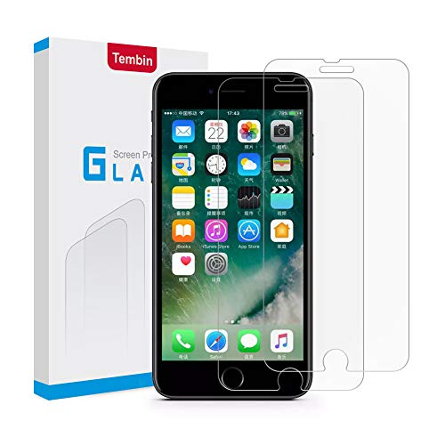 Tembin Tempered Glass Screen Protector,3D Nanometer Screen Guard,High Definition Film Protection Ultra-Clear 9H Hardness Anti Fingerprint & Anti Glare Case Friendly for iPhone 7 8 Plus [2 Pack]