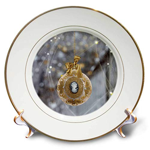 3dRose Beverly Turner Christmas Design - Beautiful Gold Vintage Cameo Ornament with Satin Gold Bow Look - 8 inch Porcelain Plate (cp_293723_1) ()