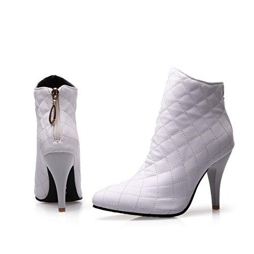 YE Damen Ankle Boots Stiletto High Heels Spitze Stiefeletten mit Reißverschluss 7cm Absatz Elegant Schuhe Weiß