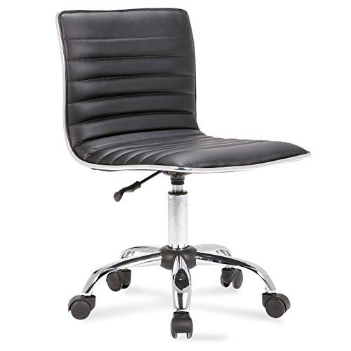 Belleze Adjustable Modern Swivel Office Conference Chair Task Desk Chair Ribbed Seat, Black