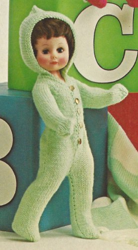Vintage Knitting PATTERN to make - 13-18-inch Doll Clothes Hood Snow Suit Sweaters. NOT a finished item. This is a pattern and/or instructions to make the item only.