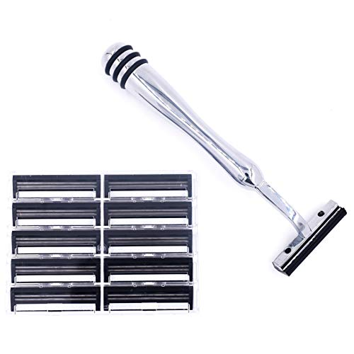 All Metal Trac 2 (Trac II) Compatible Razor and 10 Taconic Shave Twin Blade Cartridges